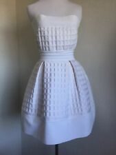 Rare Chanel White Quilted Honeycomb Short Flare Dress Sz 36