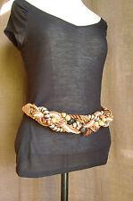 VINTAGE ceinture fantaisie tressée perles cordelette bois  marron 36