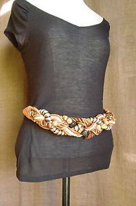 VINTAGE ceinture fantaisie tressée perles cordelette bois marron 80 cm