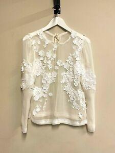 Schöne Spitzen - Bluse von DOLCE & GABBANA - IT 42 / S - lace silk blouse ~890€