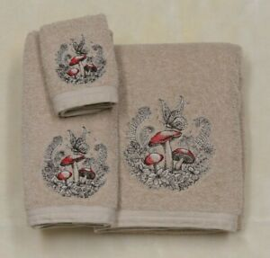 Embroidered Woodland Enchanted Forest Crest With Mushrooms 3 Piece Towel Set Tan