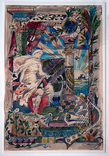 Künstler des Historismus Huldigung der Künste c.1870/1890 Aquarell 58 x 39 cm