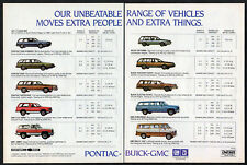 1983 PONTIAC BUICK GMC Vintage Original 2 page Print AD Sunbird Jimmy Skyhawk GM