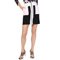 INC NEW Women's Black/pink/white Colorblock Zip Front Mini A-Line Skirt XL TEDO