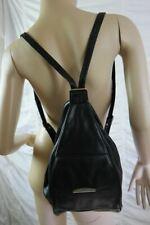 UNBRANDED black 100% buffalo leather narrow rucksack backpack VGUC