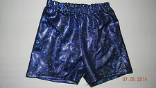 BEAUTIFUL girls Blue Silver Metallic Gymnastics SHORTS* 6 7