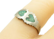 925 Sterling Silver - Vintage Turquoise Love Hearts Band Ring Sz 6 - R12846
