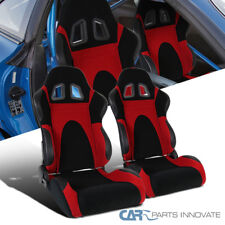 Black Red Suede Leather & PVC Reclinable Type-6 Racing Seats+Slider Rail 2PC