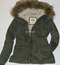 HOLLISTER by Abercrombie Womens Sherpa Lined Jacket Parka Winter Coat Olive XS