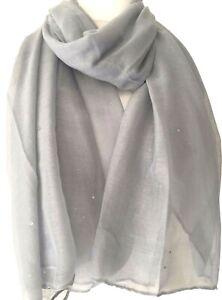Grey Scarf Ladies Sparkly Silver Shawl Wrap Glitzy Oversized Scarves