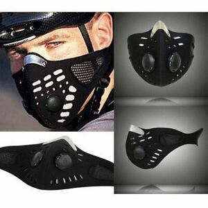 Reusable Sport Cycling Face Mask With Active Carbon Filter Breathing Valves _NEW