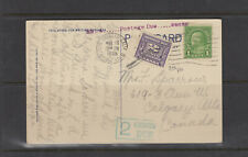 POST CARD linen Joan Crawford Residence, postage due Canada /USA.  1935