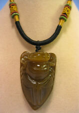 Handcrafted knot work cord adjustable jade carved cicadas pendant/necklace
