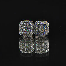 Solid 18kt 750 White Gold Natural Diamond Earing
