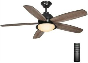 Home Decorators Ackerly 52 in LED Indoor/Outdoor Natural Iron Ceiling Fan Remote