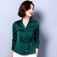 Women's Faux Silk Satin Shirt Blouse Shirt Top Long Sleeve V-neck Formal Casual