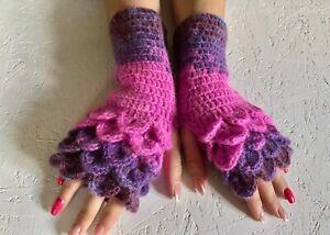 pink lilac crocodile stick women gloves, rainbow fingerless, winter gloves, gift
