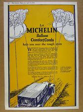 1924 Michelin Comfort Cord Balloon Tires man art vintage print Ad