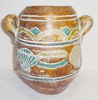 Vintage Primitive Hand Made Hand Painted Seashell Pottery Brown Handled Vase Urn