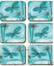 Blue Dragonfly Coasters x 6 By Lisa Pollock New Great Gift Idea