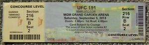 UFC ULTIMATE FIGHTING UFC 191 ORIGINAL USED TICKET MGM LAS VEGAS, SEP 5 2015