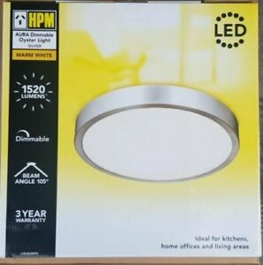 HPM AURA Ceiling Oyster Light Dimmable 18W LED 3000K Warm White Silver Finish