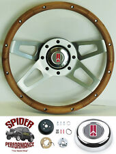 "1964-1966 Cutlass 442 F85 steering wheel OLDSMOBILE 13 1/2"" WALNUT 4 SPOKE"