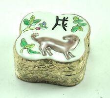 Vintage Chinese Shard Box Tibetan Silver Porcelain Inlay Jewelry Mirror DOG