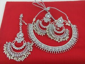 Indian Fashion Jewelry Necklace Tikka Bollywood Ethnic Silver Plated Copper Set