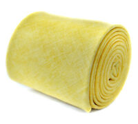 Frederick Thomas Designer Linen Mens Tie - Lemon Yellow - Plain Skinny Textured