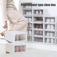3PCS Portable Pull Out Drawer Type Shoe Box Transparent Plastic Shoe Storage Box
