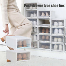 3PCS Push Drawer Type Shoe Box Shoe Organizer Drawer Transparent Plastic Shoe