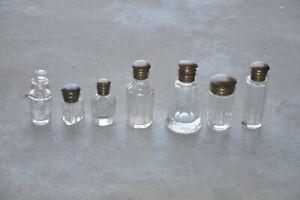 7 Pc Vintage Unique Shape Cut Glass Victorian Perfume Bottles