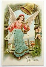 Merry CHRISTMAS ANGELS in the Belltower Metallic Harp Postcard EMB Gold