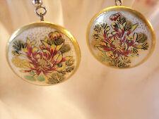 Vintage earring, Satsuma button Art Noveau red chrysanthemum gold trim jewelry