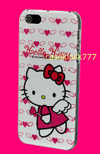 for iphone 5 5s  angel white hot pink hard back case with bow hello kitty