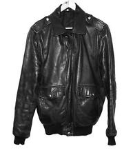 1980s Black Leather Bomber Jacket with Knit Bottom SZ Eur 50 US M Made in Sweden