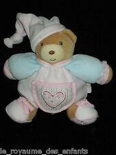Doudou boule Ours rose bleu avec bonnet et coeur brodé sur poche Kaloo Lilirose