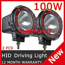 "2PCS 100W 4"" HID XENON DRIVING SPOT LIGHTS OFFROAD WORK LAMP 4X4 RED RING SUV"