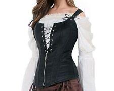 Plus Size Black Faux Leather Steampunk Corset Vest - Aussie Seller