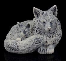 "Fox with Puppy Marble Figurine Stone Sculpture Russian Art Miniature Statue 2"""