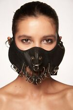 Black Stitch Faux Leather Mouth Face Cover Spike Rocker Steam Punk Hannibal Mask
