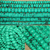 Wholesale Natural Rondelle Turquoise Gemstone Loose Beads Spacer Charms Jewelry