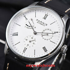 42mm PARNIS white dial full solid case date power reserve automatic mens watch