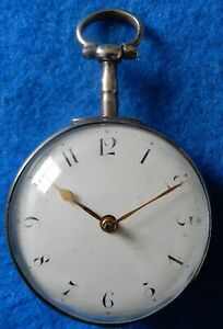 Antique silver pair cased verge fusee pocket watch no outer case, working 1812/3