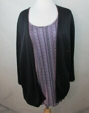 STUDIO 1940 22/24 3X WOMENS PLUS SIZE KNIT TOP 2 IN 1 MOCK CARDIGAN ATTACHED