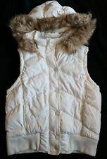 AEROPOSTALE L Ivory Puffer Vest Removable Faux-Fur Hood Cream Snap Front
