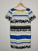 Julian Taylor Sheath Shift Dress Women's Size 14 Textured Pockets Floral Striped