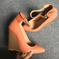 Fashion Women Pumps Pointed Toe Wedges High Heels Orange Big Size 4-15 Shoes
