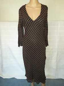 Phase Eight Black & Brown Midi Dress Size 12 by Patsy Seddon